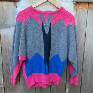 Vintage 1980 Cashmere Wool Blend Bat Wing Sweater